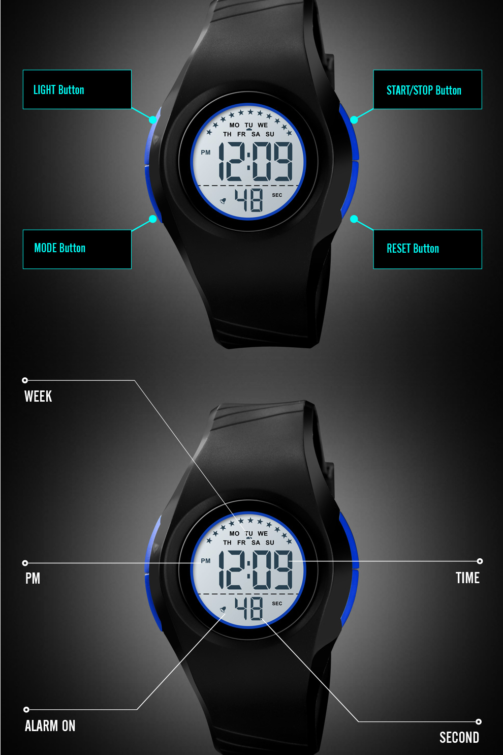 Waterproof Silicone LED Digital Sports Watch for Boys